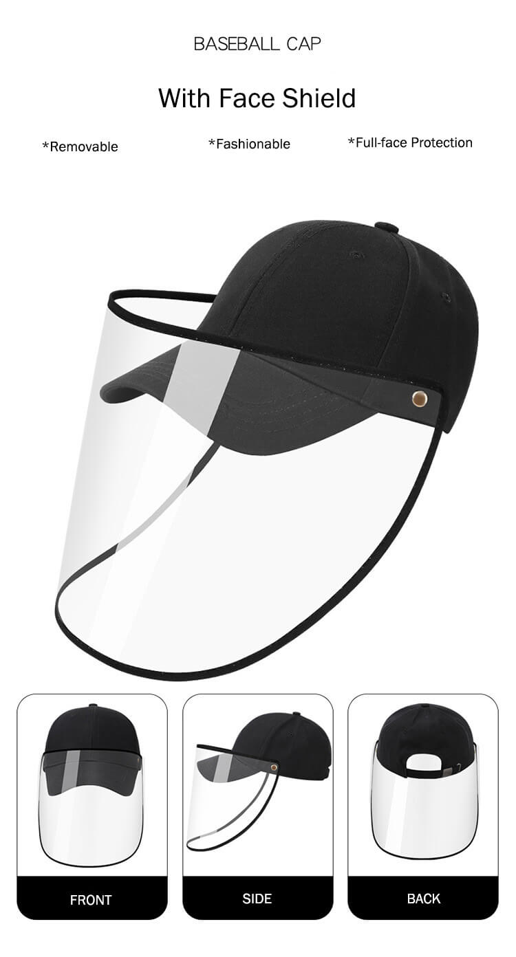 features of the baseball cap with face shield