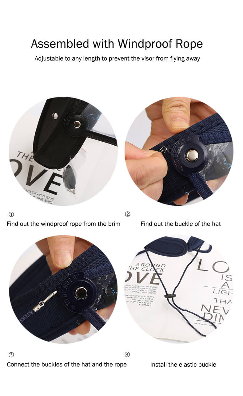 install the windproof rope of the face shield visor