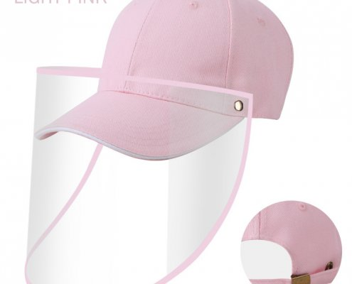 pink baseball cap with face shield